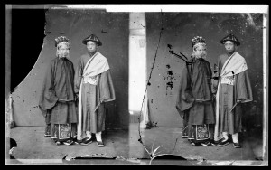 L0056859 Canton, bride and bridegroom. Credit: Wellcome Library, London. Wellcome Images images@wellcome.ac.uk http://wellcomeimages.org Canton (Guangzhou), Kwangtung province, China: a Cantonese bride and groom. Photograph by John Thomson, 1869. 1869 By: J. ThomsonPublished:  -  Copyrighted work available under Creative Commons Attribution only licence CC BY 4.0 http://creativecommons.org/licenses/by/4.0/