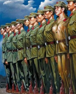 "Hu Ming, ""Stand Up."" Size: 140 x 106 cm. Oil on canvas painting, 2007."