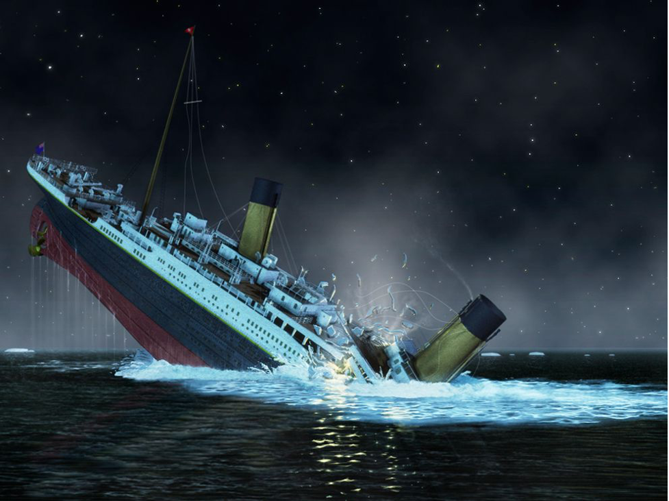 Graphic of Titanic's bow plunging to the bottom