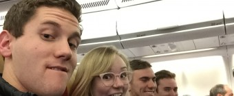 Latin Students Excited for the 10 Hour Flight to Sicily!: All boarded on the plane to Fiumicino, Rome