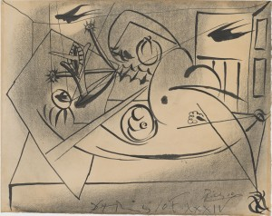 PABLO PICASSO (Spanish, 1881–1973) - Construction with Swallows, 1934 - India ink and charcoal - Bequest of William H. Alexander, in memory of his friend, Howard Hoyt Shiras, M.D. - In this drawing, marked by Surrealist overtones, Picasso aggressively distorts the figure of a classically-posed reclining female nude. This disfiguration may reflect Picasso's tense emotional state due to conflict with his wife Olga, whom he frequently depicted as an enraged monster. Picasso began a secret relationship with Marie-Thérèse Walter in 1927, and would leave Olga a year after this print was created. The swallows, shown here in visual shorthand as energetic dashes of black ink, are a migratory bird that symbolizes renewal and change. Created during the geopolitical instability of the inter-war years, this drawing contrasts with the female portraits Picasso produced after World War II that convey a return to classicism and balance.