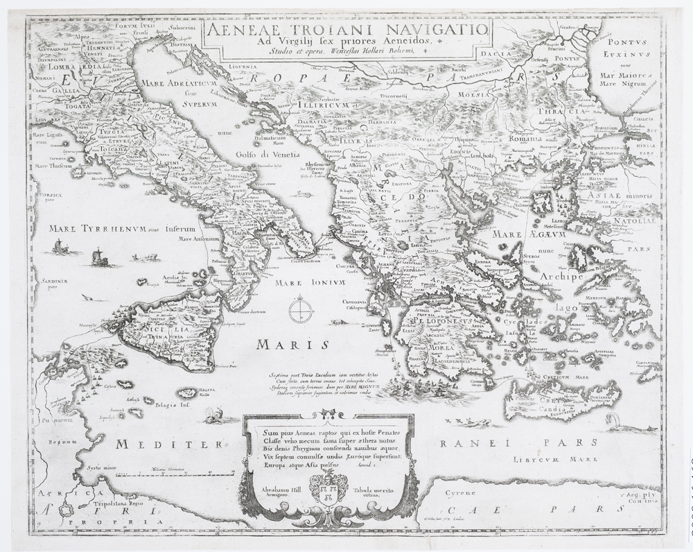 WENCESLAUS HOLLAR (Bohemian, 1607–1677) - Map of the Voyages of Aeneas, ca. 1650