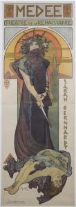 ALPHONSE MUCHA (Czechoslovakian, 1860–1939) - Medee, Theatre de la Renaissance, Sarah Bernhardt, 1898 - lithograph