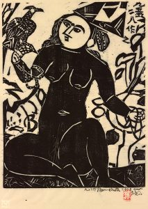 Shikō Munakata 志功棟方 Japanese, 1903–1975  Hawk Woman, 1958 woodcut, hand-touched with black ink Gift of Charles Pendexter 2009.16.569