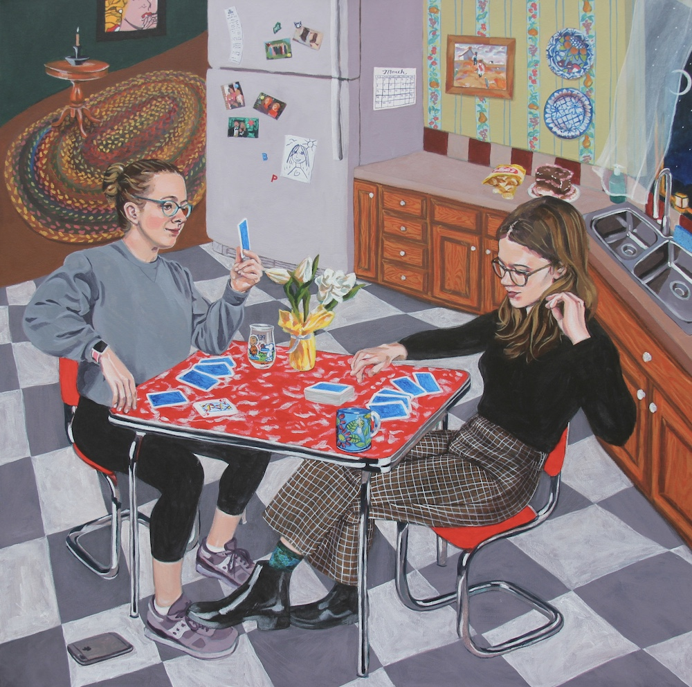 Title: Kitchen Size: 3 ft x 3 ft Medium: Acrylic on canvas