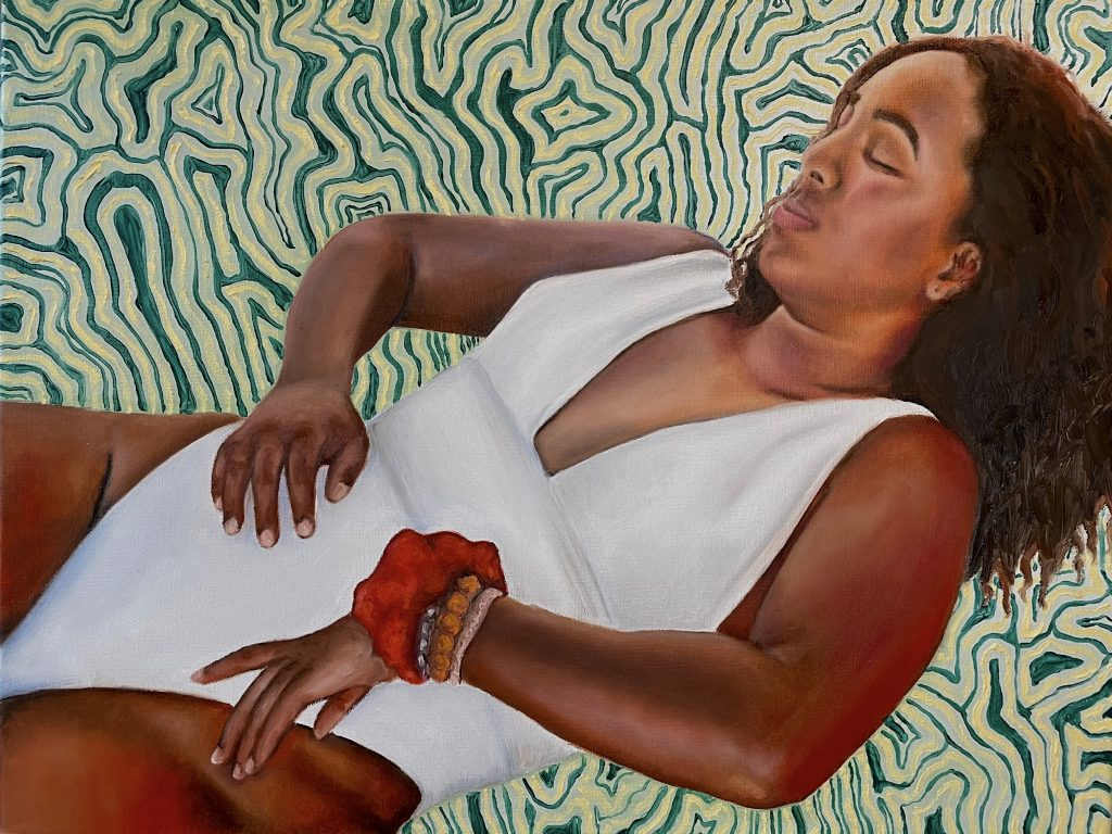"""and when she woke up, The Dream became reality oil and acrylic on canvas 24""""x 18"""""""