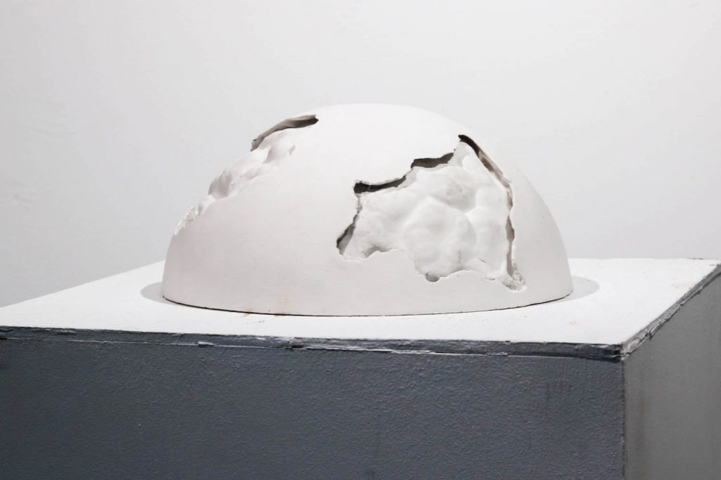 """1. Decay #1, pottery plaster, 12"""" x 12"""" x 6"""", 2021."""