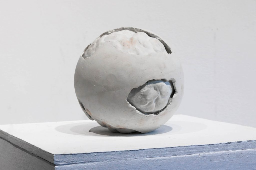 """3. Decay #3, pottery plaster, 6"""" sphere, 2021."""