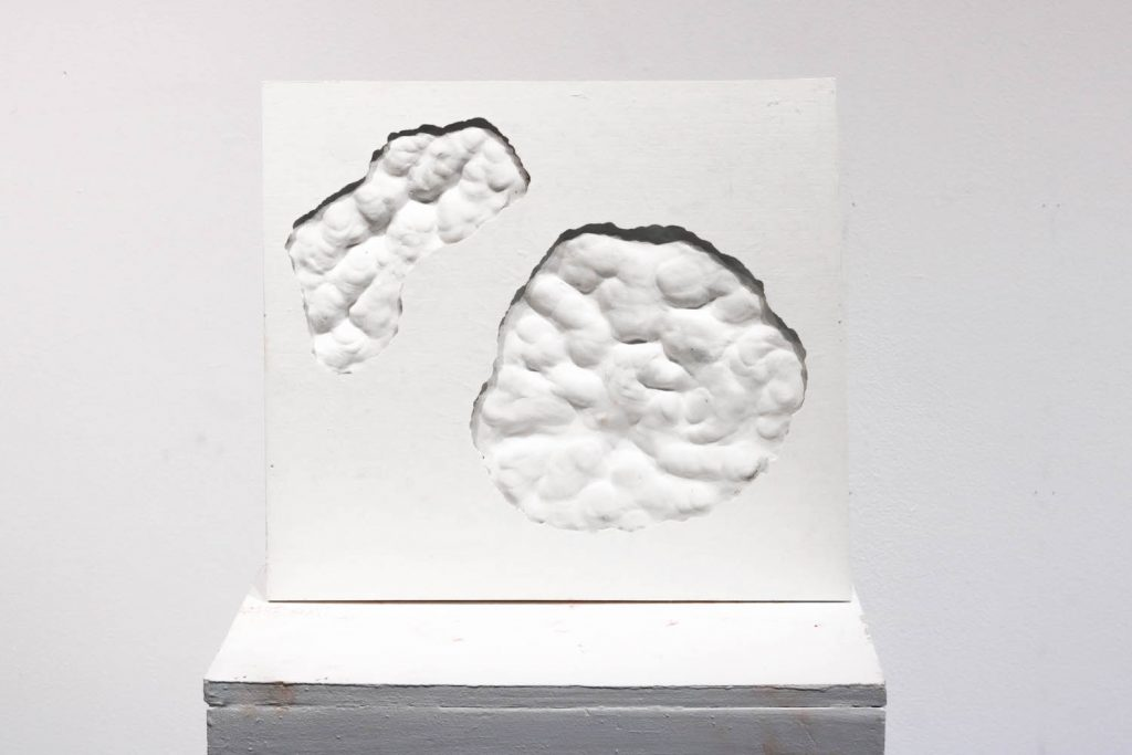 """6. Decay #6, pottery plaster, 13"""" x 13"""" x 40"""", 2021."""
