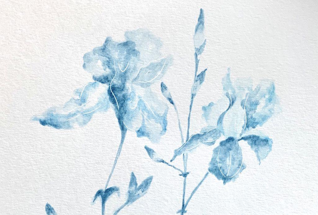 1. Cyan Irises, watercolour and digital drawing, 2021