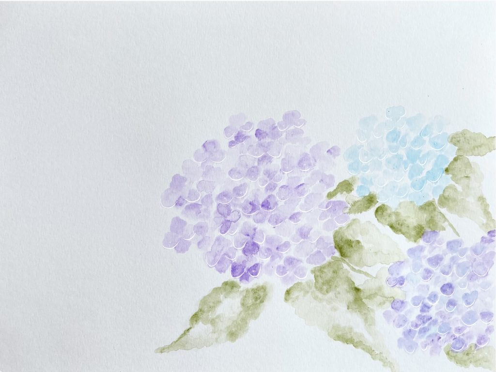 3. Light Hydrangeas, water colour and digital drawing, 2021