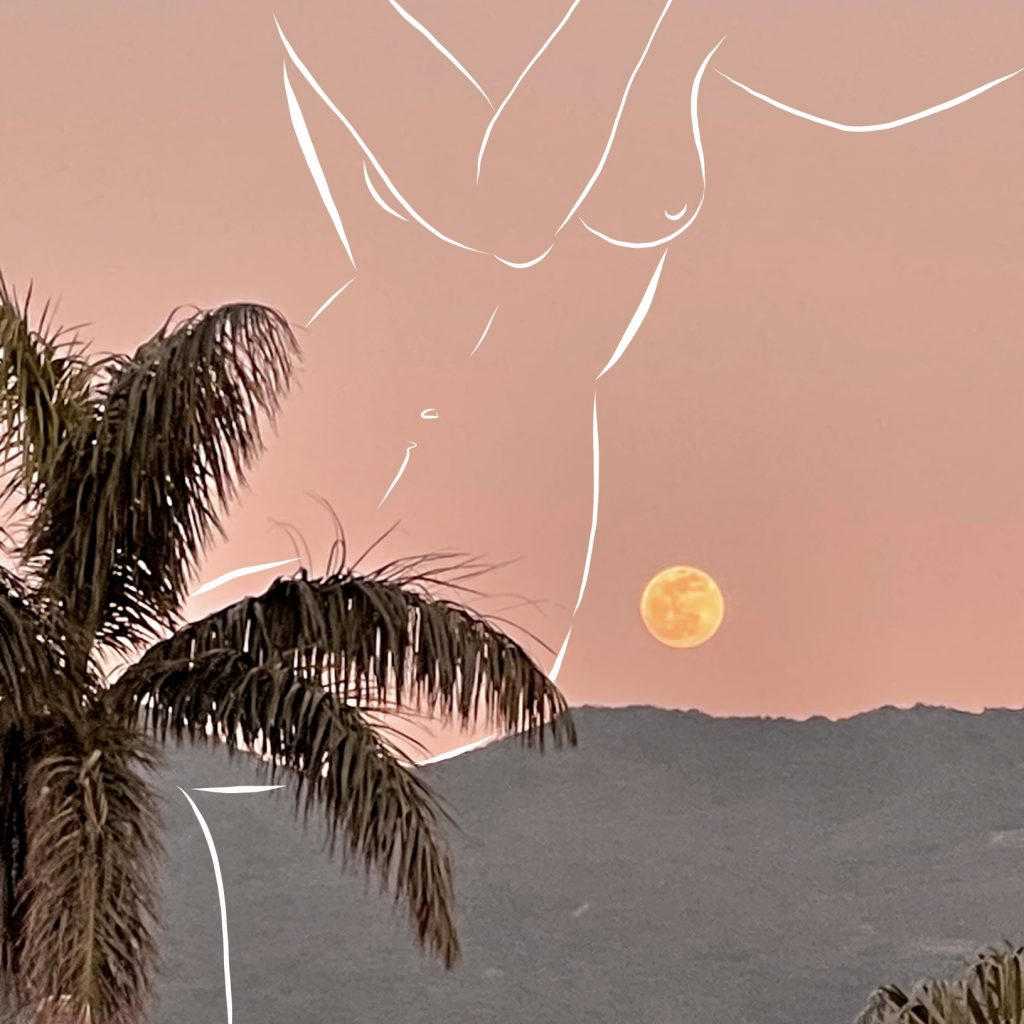 6. Peach Sunset, photograph and digital drawing, 2021