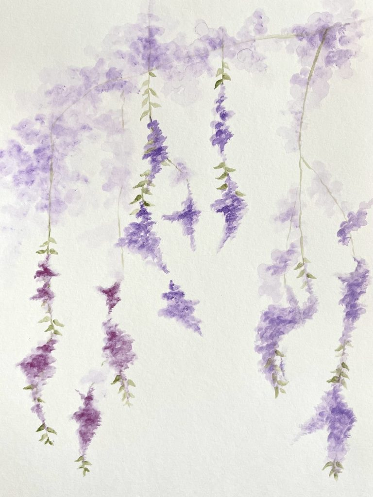 """4. Wisteria, water colour on paper, 9 x 12"""", 2021"""