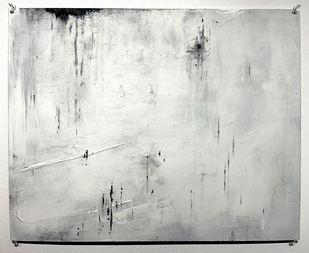 "3. Like This (III), Ink, acrylic, graphite, gesso on hardboard panel, 20"" x 16"""