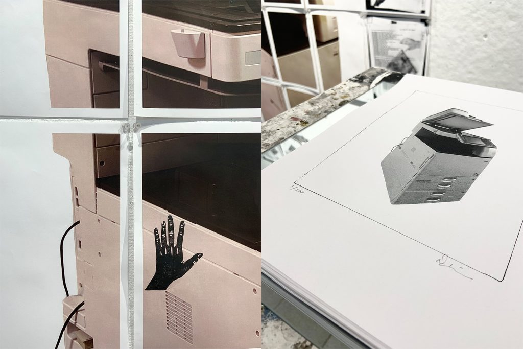 """5. Let's Make A Copy of That (details), Inkjet prints, relief prints (linocut), graphite, paper, pins, mirror, wheeled stand, approx. 108"""" x 96"""""""