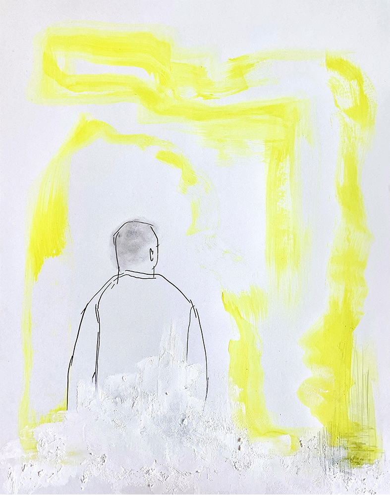 """6. Untitled in Yellow, Acrylic, gesso, ink, and graphite on bristol paper, 11"""" x 14"""""""