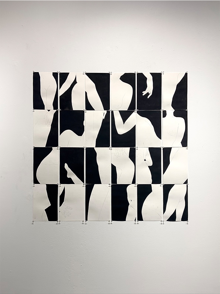 """7. Assembly of A Woman, Graphite and acrylic on paper, 38"""" x 38"""""""