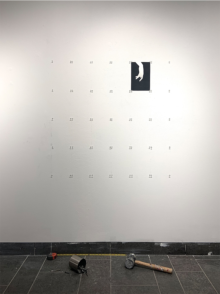 8. Assembly of A Woman - Disassembly, Graphite and acrylic on paper, nails and pins in metal container, hammer, measuring tape, variable dimensions