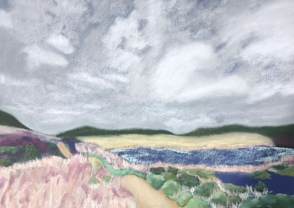 """Beach Off Highway One, chalk pastel and colourfix paper, 19.5""""x27.5"""", 2021"""