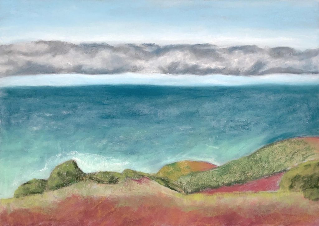 """Rodeo Beach, chalk pastel and colourfix paper, 19.5""""x27.5"""", 2021"""