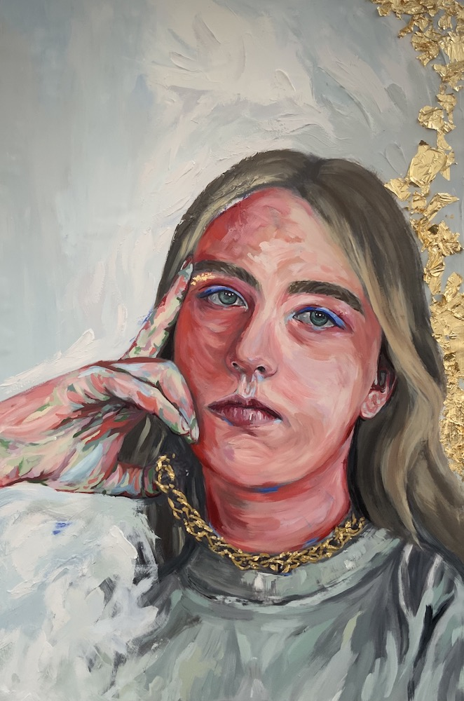"""althea, acrylic, spackling paste, and gold leaf on wood panel, 24x36"""", 2021"""