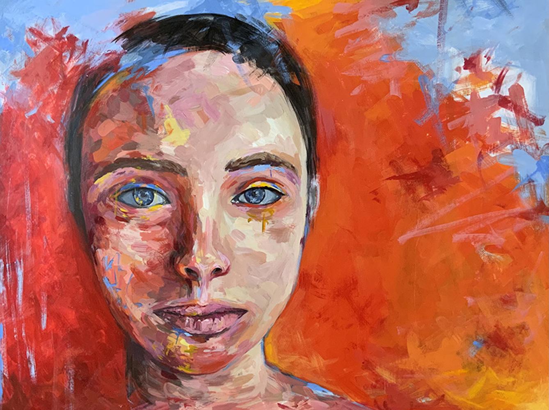 """ember, acrylic on wood panel, 18x24"""", 2021"""