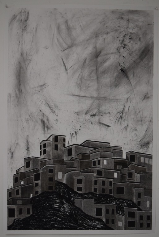 Construct, charcoal on paper, 23 x 34 in.