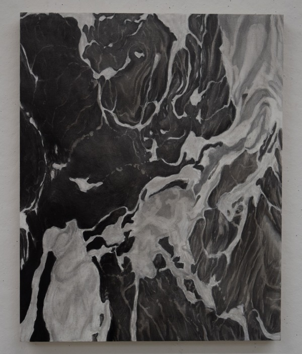 Untitled (Washed Series), charcoal on wood panel, 16 x 20 in.