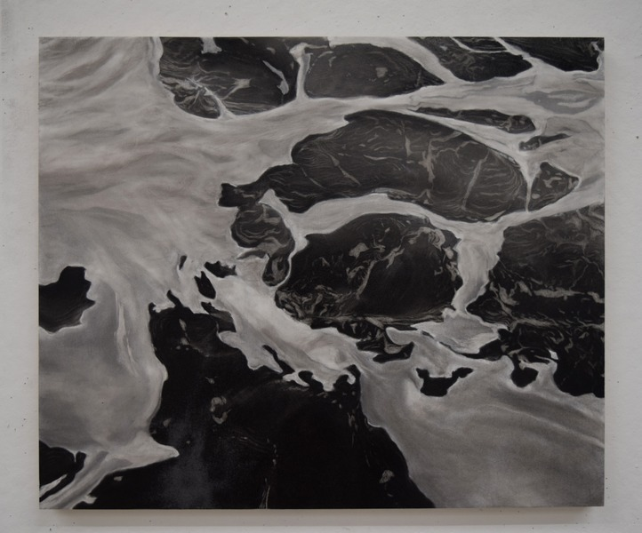Untitled (Washed Series), charcoal on wood panel, 24 x 20 in.